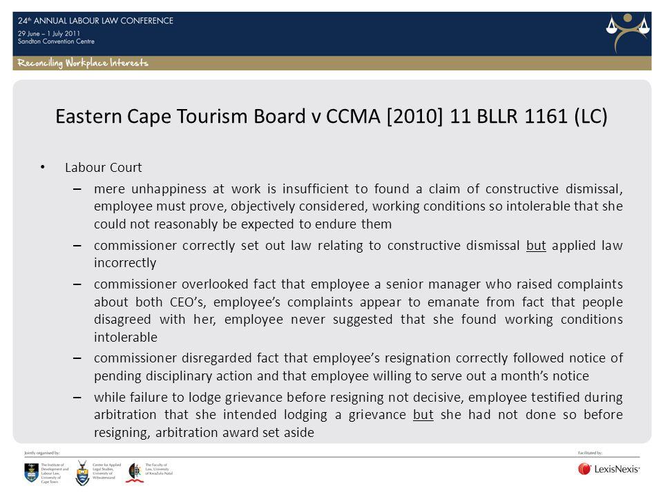 Eastern Cape Tourism Board v CCMA [2010] 11 BLLR 1161 (LC)